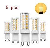 Glühbirne G9 LED, RANBOO, 5W(40 W Halogenlampe ähnlich), 330lm, AC 220–240 V, Nicht dimmbar, Nicht Flicker, 360 Grad Abstrahlwinkel, Warmweiß 3000K, Energiesparend Leuchtmittel, 5 Pack