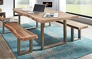 Table 'delhi iI'210 x 110 cm en bois d'acacia massif
