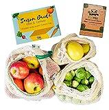 EcoYou Gemüsebeutel aus Baumwolle wiederverwendbar 3er Set (S,M,L) mit Gewichtsangabe ♻️ Zero Waste Obstnetz & Gemüsenetz für den plastikfreien Einkauf ♻️ NACHHALTIGE Einkaufsnetze + Saisonkalender