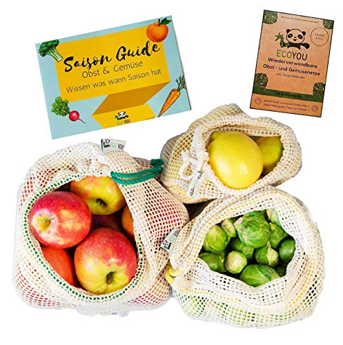 EcoYou Gemüsebeutel Bio-Baumwolle wiederverwendbar 3er Set (S,M,L) mit Gewichtsangabe ♻️ Zero Waste Obstnetz & Gemüsenetz für den plastikfreien Einkauf ♻️ NACHHALTIGE Einkaufsnetze + Saisonkalender