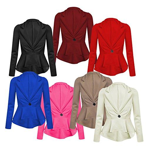 Fashion Top–Veste de costume–Manches longues–Base–Manches longues–Femme Bordeaux