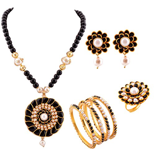 Aabhu Gold Plated Pachi Pearls Studded Pendant Set With Chain Earring, Bangle Combo jewellery For Women And Girl
