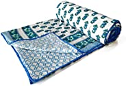 BLOCKS OF INDIA Cotton Malmal Hand Block Printed King Size Reversible Dohar- (Blue - Green)