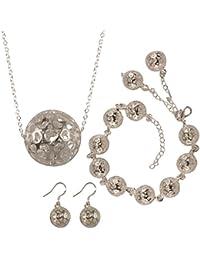 bcbe759249ea joyliveCY-la moda mujer elegante 925 pendientes ba ados en plata Juego de  collar con pulsera