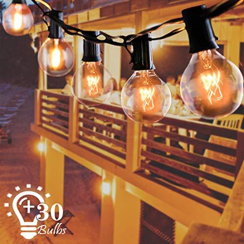 Lichterkette Außen, Lichterkette Glühbirnen Outdoor G40 9.6m IP65 Wasserdicht 30er Globe Birnen Lichterkette Garten für Weihnachten Hochzeit Party Aussen Dekoration Warmweiß