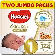 Huggies Newborn, Size 1, 0-5 kg, Two Jumbo Packs, 128 Diapers