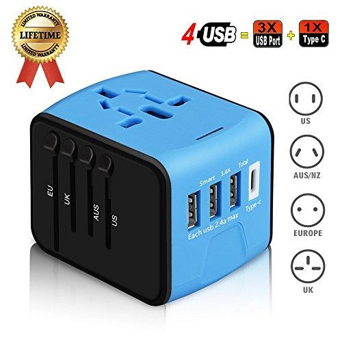 Adaptateur de voyage Universel,Haozi Adaptateur de chargeur Tout-En-Un Multi-Nation Multi-prise daptateur et Chargeur 3 ports USB(de type A) et de 1 p...