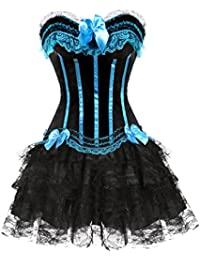 Burlesque Corset Lace up Satin Padded Cup Bustier Plus Fancy mini tutu Skirt Set