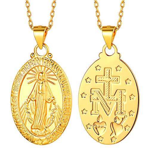 FaithHeart Plata de Ley 925 Oro Amarillo 18K Medalla Oval Nuestra Señora de Guadalupe Madre María Collar Religioso para Hombres y Mujeres Regalo Milagroso
