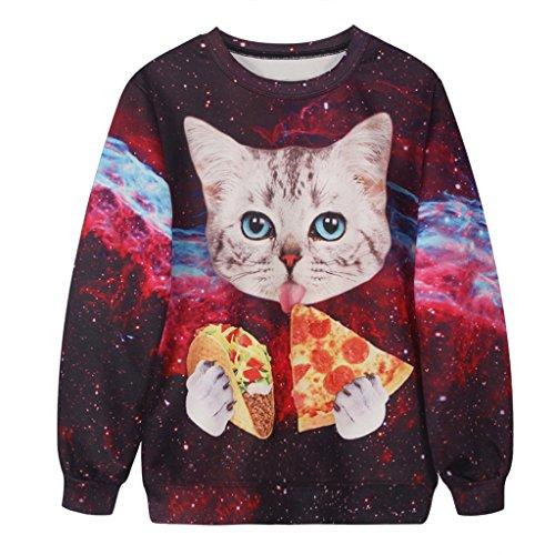 Galaxia Rojo Brillante Camiseta Adorable Gato Grueso Redondo Cuello Suéteres Para Mujeres
