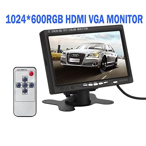 KASIONVI 7 Inch High Resolution 1024600RGB HDMI monitor ,tft LCD Screen Display Monitor with Hdmi VGA Input, DVD VCR Car Rearview Headrest Monitor +Remote +Ac Charger  available at amazon for Rs.11403