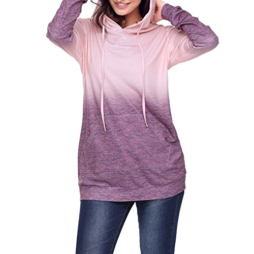 Petalum Sweater à Capuche Femme Anamorphique de Sport Sweat-Shirt Tricot Chaud Course Extérieur Top Long Manches Longues Veste Top Casual Violet