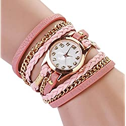 PromiseU Women Synthetic Leather Strap Watch -Pink