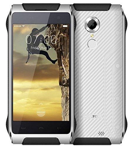 Homtom HT20 - Viel Chic und dünnsten IP68 wasserdichtes Smartphone Zähigkeit Android 6.0 mit 4.7 Zoll Gorilla-Glas Quad-Core 1,3 GHz 2GB RAM 16GB Fingerabdruck-Scanner 13mm Dicke - Silber Weiss
