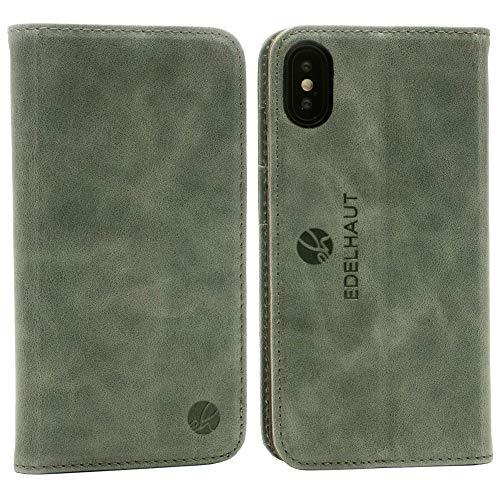 Leder Smartphone (EDELHAUT Handytasche mit unsichtbarem Magnetverschluss in grau für Apple iPhone X und XS aus echtem Leder)