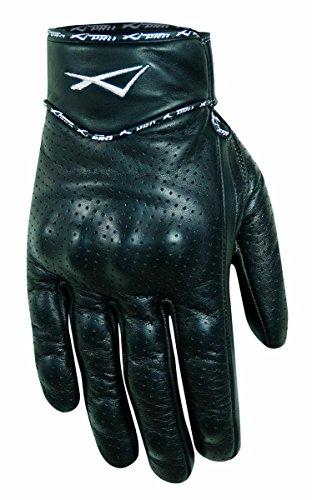 A-Pro, guanti di pelle di vitello, protezioni, motocicletta, pelle nera perforata, taglia M