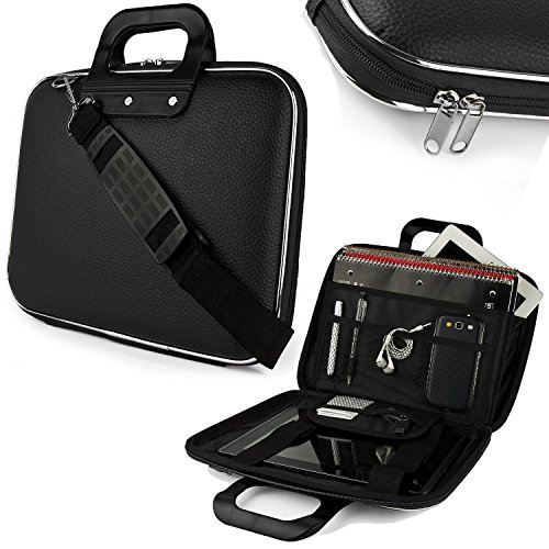 House of Quirk Cady Collection Durable Briefcase Carrying Laptop Tab ipad mini macbook air Case with Removable Shoulder Strap for 15.6 in Laptops / Notebooks for Sony HP Apple Samsung Lenovo Dell Acer Asus(Black) - Black Color