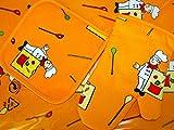 van Dillen Kinder-Küchen-Set 3-teilig Kinderschürze Topflappen für Kinder in Verschiedenen Designs (orange)