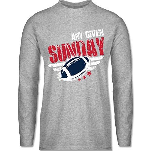 Shirtracer American Football - any Given Sunday Football New England -  Herren Langarmshirt Grau Meliert