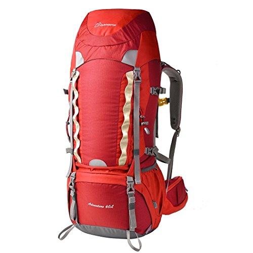 Imagen de mountaintop 60l  de senderismo impermeable multifunciona backpack / trekking bolsa de mochilero / escalada  /  de camping /  de viaje para el alpinismo con cubierta de la lluvia 651ii 76 x 36 x 26 cm rojo 60l