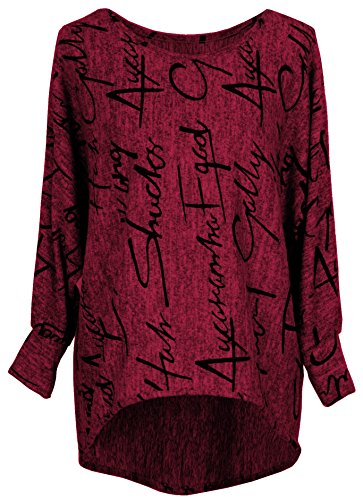 Emma & Giovanni - Pullover / Sweatshirt Oversize- Damen (L/XL, Bordeaux)