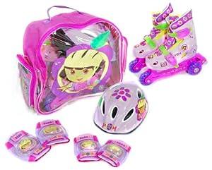 Dora la Exploradora - Set de Patines transformables en línea, Talla 35-38 (Saica Toys 8191)