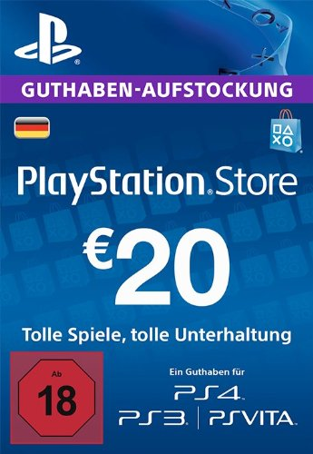 PSN Card-Aufstockung | 20 EUR | PS4, PS3, PS Vita Playstation Network Download Code - deutsches Konto
