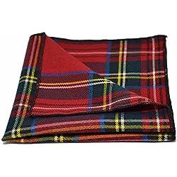 Pañuelo de Bolsillo Tradicional con Patrón Escocés Rojo