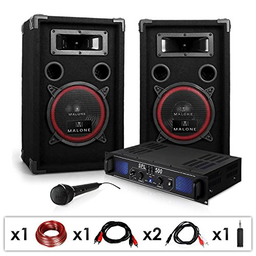 DJ PA-Set DJ-14 1600W Musik-Karaoke-Anlage PA-Verstärker SPL-500 mit 2x 200 Watt RMS Malone PA Lautsprecher-Boxen Paar (inkl. Mikrofon, Kabelset, 3 Stereo-Cinch-Eingänge) schwarz (Paar 8-zoll-subwoofer)