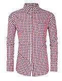 KUULEE Herren Hemd Trachtenhemd Slim Fit Kariert Freizeithemd - f¨¹r Oktoberfest & Freizeit & Business (38, Rot)