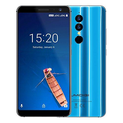 UMIDIGI A1 Pro, Android 8,1 Oreo Dual Sim 4G Smartphone ohne Vertrag 5,5 Zoll 18:9 Full Screen Display, Triple Kameras(13MP+5M Hauptkameras / 5MP Frontkamera)3GB RAM + 16GB ROM 1.5GHz Quad Core, Face ID & Finger ID Unlock, 3150mAh Akku Quick-Charging -Blau