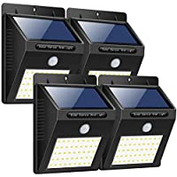 Trswyop Luces Solares Exterior con 3 Modos Para Pared, Sensor Movimiento 1800mAh Wireless, 40 LED, 4 Unidades