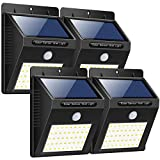 Trswyop Luces Solares Exterior con 3 Modos Para Pared, Sensor Movimiento 1800mAh Wireless, 40 LED, 4 Unidades
