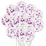 Aneco 20 Stücke Pink Konfetti 12 Zoll Konfetti Ballons Latex Transparent Ballon für Geburtstag Hochzeit Party Dekoration
