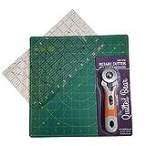 Quilted Bear 12' x 12' (30 x 30cm) Réparation Automatique Tapis de Découpe Rotatif + 12' x 6,5' (17 x 60cm) Quilting Règle + 45 mm Cutter Rotatif Bundle