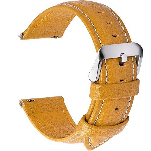 Fullmosa 12 Farben Uhrenarmband, Axus Serie Lederarmband Ersatz-Watch Armband mit Edelstahl Metall Schließe für Herren Damen 20mm Gelb - Farbe Sicher