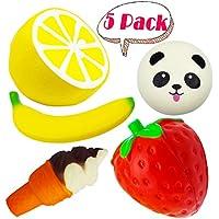 Jumbo Squishy Fruit Pack , 5 pezzi Jumbo Squishy Slow Rising Kiibru Giocattolo di frutta Squeeze Toys , Dolce Profumato Kawaii Squishy Giocattolo antistress per bambini Adulti ( Fragola + Limone + Gelato + Banana + Panda )