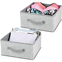mDesign 2er-Set Aufbewahrungsbox aus Stoff – für Ordnung im Kleiderschrank – Stoffkiste für Kleidung, Decken, Accessoires und mehr – grau preisvergleich bei kinderzimmerdekopreise.eu