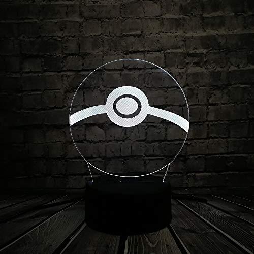 Mddjj Heißer Verkauf Pokeball Design 3D Led Usb Lampe Für Liebe Japanischen Cartoon Spiel Kinder Spielzeug Geschenk Zimmer Nachtlicht Lampe Decor Requisiten Schlafzimmer Licht