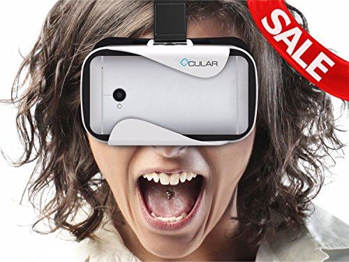 Ocular Rapid Virtual Reality Glasses (WHITE) - Fully Adjustable VR Headset with 42 MM Lenses - VR Box Compatible With 4.5