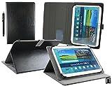 Emartbuy® Digiland DL1010Q/8163 10.1 Pollice Tablet PC Universale Serie (10-11 Pollice) Nero PU Pelle Angolo Multi Esecutivo Custodia Case con Scomparti per Carte di Credito + Stilo
