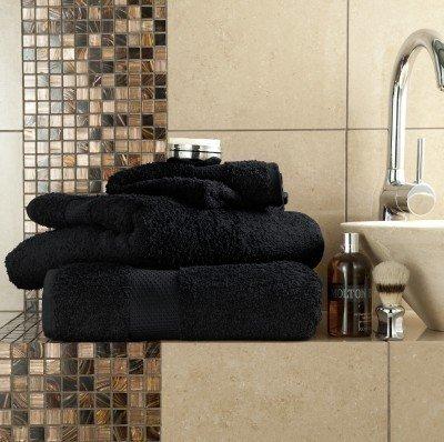 Ägyptische Baumwolle 700GSM Extra Soft Top Qualität Luxus Miami 6-teiliges Handtücher-Set, schwarz