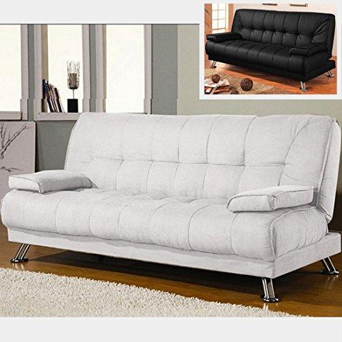 Bagno italia divano letto sofa 187x88 bianco ecopelle braccioli antiribaltamento soggiorno salotto modello francesca i