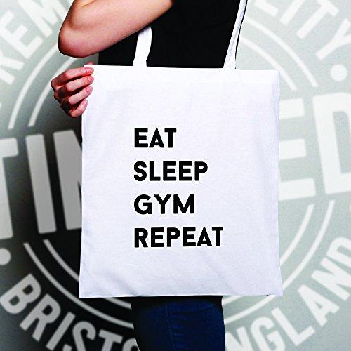 Eat Sleep Palestra Ripetere hobby idoneità muscoli elevatori della proteina Sacchetto Di Tote Natural