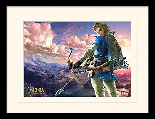 Preisvergleich Produktbild 1art1 103625 The Legend Of Zelda - Breath Of The Wild, Hyrule Scene Landscape Gerahmtes Poster Für Fans Und Sammler 40 x 30 cm