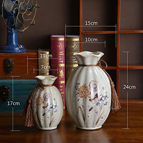 OYBB Ornamente Statuen Vasen europäischen und amerikanischen Stil Licht Luxus Keramik Vase Wohnzimmer Esstisch Arbeitsplatte Wasserkultur Blume einfügen Dekoration nach Hause weich zweiteilig