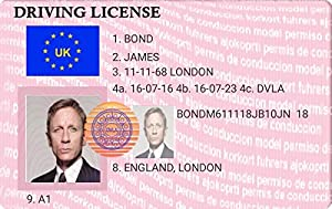 Novelty James Bond Driving License - Keyring