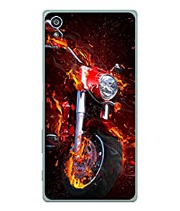 PrintVisa Designer Back Case Cover for Sony Xperia Z5 :: Sony Xperia Z5 Dual 23MP (Ghost Rider Bike red fire)