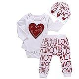 Covermason Bebé Niña Love Print Camiseta y Largo Pantalones y Sombrero (1 conjunto) (6M, Blanco)