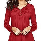 TEBAISE Damen Shirt Langarm Chiffon Spitzen Bluse Übergröße Tunika mit Knopf Vorne V-Ausschnitt Oberteile T-Shirt Elegant Langarmshirt